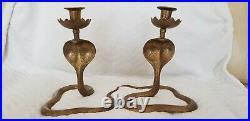 Vintage Pair Of Brass Cobra Snake Shaped Candlestick Holders. Heavy 1300g. 21cm