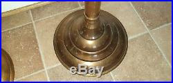 Vintage Pair Of Brass Plant Jardiniere Stands Or Large Candle Holders 70cm Tall