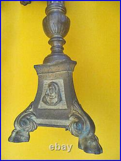 Vintage Pair Of Brass Religious Candlesticks Candle Holders Church Altar