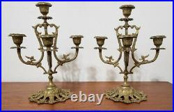 Vintage Pair Small Candelabra's Ornate 5 Arm Brass 9 3/4 Candle Stick Holders