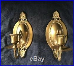 Vintage Pair Solid Brass Wall Candle Holders Sconces Oval Single Candle 9