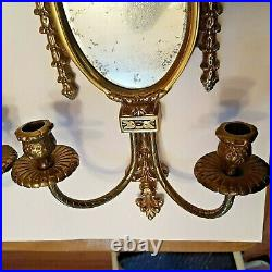 Vintage Pair of 23 Brass Double Candle Holder with Mirrors Ornate Wall Sconces