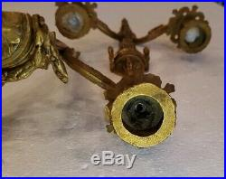 Vintage Pair of BRASS DOUBLE ARM CANDLE HOLDER LIGHT WALL SCONCES 16 long