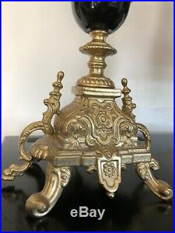 Vintage Pair of Brass Brevettato Candelabra Baroque Style Made in Italy