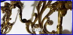 Vintage Pair of Brass Cast 2-Arm Wall Sconces, Candle holders