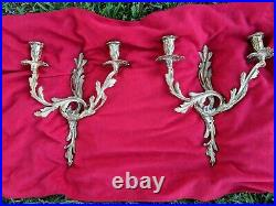 Vintage Pair of Brass Cast 2-Arm Wall Sconces, Candle holders 16 1/2 Nice