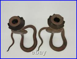 Vintage Pair of Bronze/Brass/Metal Etched Cobra/Snake Candle Stick Holders Red