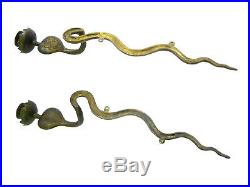 Vintage Pair of Egyptian Brass Cobra Snake Candle Holders Wall Sconces RARE