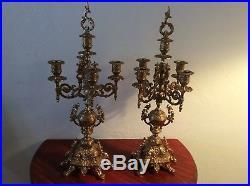 Vintage Pair of Italian Made Ornate Brevettato Brass Candelabras
