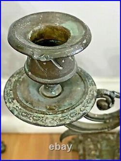 Vintage Pair of Ornate Gothic 3 Arm Brass Bronze Candelabra