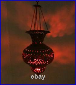 Vintage Pierced Brass Moroccan Lantern/ Turkish Pendant Teardrop Lamp