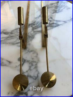 Vintage Pierre Forsell for Skultuna Brass Pendal Candle Stick Wall Sconce Pair
