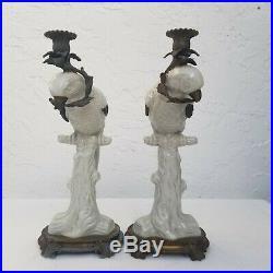 Vintage Porcelain & Brass Castilian Parrot Candlestick Candle Holder Set of 2