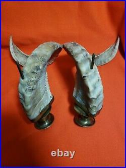 Vintage Ram Horns Brass Candlestick Holders