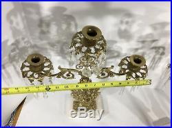 Vintage Rare Elegant Set Of Two Ornate Brass Candelabra 3 Candles Each 6 Total