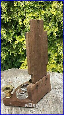 Vintage Religious Altar Cross Brass Candle Holders Glass Bowls Church