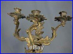 Vintage Rococo French 3-Arm Candelabra Wall Sconces Candle Holder Bronze Brass