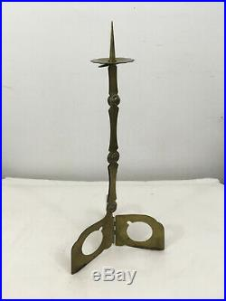 Vintage Samuel Yellin Metalworkers Brass Folding Candlestick