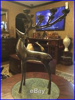 Vintage Silver-plated Heavy Brass Reindeer 10-cup Deer Antler Candle Holder