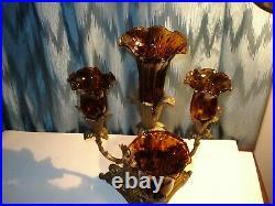 Vintage Solid Brass 3 Arm Candelabra 4 Amber Tulip Votive/candle Stick Holders