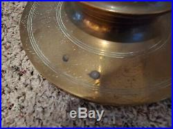 Vintage Tall Etched Brass Floor Church Altar Candlestick 60 Screw Sections