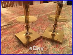 Vintage Tommy Parzinger for Dorlyn Pair Brass Candlesticks Hollywood Regency 50s