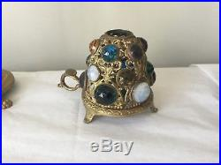 Vintage Victorian Brass Jeweled Fairy Finger Lamp Candle Holder