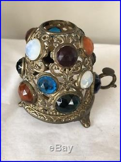 Vintage Victorian Brass Jeweled Fairy Finger Lamp Candle Holder A2