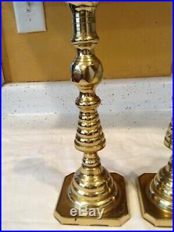 Vintage Virginia Metal Crafters Pair Brass Candle Holders Williamsburg Va 10