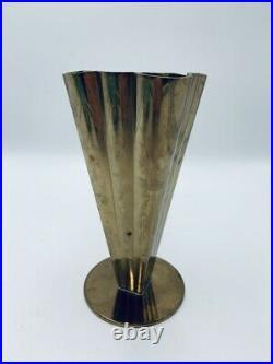 Vintage Ystad Metall Art Deco Vase Fluted Brass