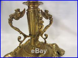 Vintage brass candelabra crystal prisms candle holders