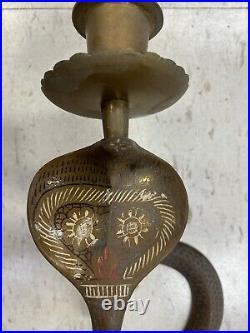 Vintage brass cobra Candle Stick Holders
