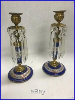 Vintage pair brass painted cobalt blue candle holder stick crystal prisms 9 in