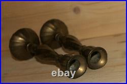 Vintage pair hand crafted brass candlesticks
