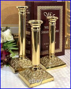 Virginia Metal Crafters Brass Mount Vernon Set Of 3 Candlesticks Neoclassical