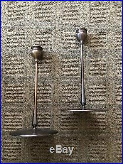 Virginia Metalcrafters Delta Candlesticks Jarvie Burnished Brass Pair 11 Tall