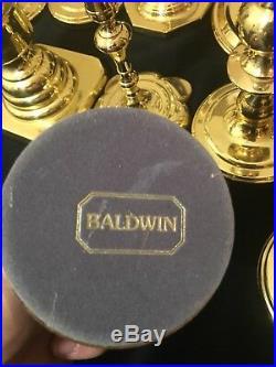 Vtg 14 Baldwin Brass Candlestick Candle Holders Wedding Christmas Church Home