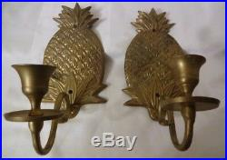 Vtg 40s Brass Metal Heavy Pineapple Wall Sconce Candle Holder Dining Room Rare