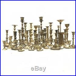 Vtg 41 Brass Candlestick Lot Wedding Tablescape Hollywood Regency Decor Xmas