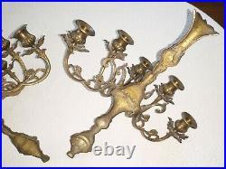 Vtg 5 ARM Large Pair Ornate Brass CANDELABRA Sconce Wall Candle Holder Set