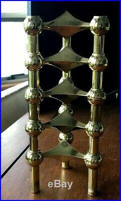 Vtg 5 Brass plated Candle Holders Fritz Nagel Stoffi MCM Germany Stackable