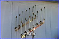 Vtg, Ave Maria 60 Yrs. Old Floor Candelabra Pr, W 14 Oil Candles, Brass, Stunning