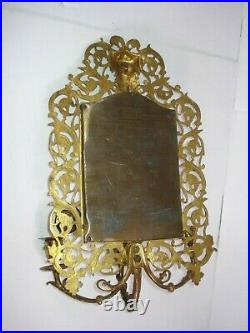 Vtg BRASS beveled MIRRORED WALL HANGING SCONCE 3-ARM pillar CANDLE HOLDERS rare