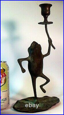 Vtg BRONZE BRASS FROG Candle Holder Sculpture Lily Pad Verdi Gris patina