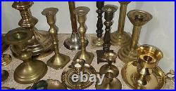 Vtg Brass Candlestick Lot of 25 Candle Holders Wedding Party Decor Waccamaw