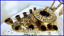 Vtg Brass & Enamel Jewish Menorah 9 Candle Holder Wick Inside &Out Israel