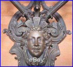 Vtg Brass Figural Head Lamp Light Large Wall Mount Sconce 3 Candle Lite Holder
