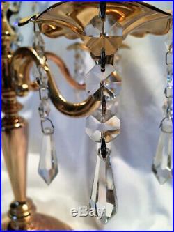 Vtg Brass Five Arm Candelabra/Candle Holder withCrystal Prisms