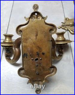 Vtg LARGE Heavy Duty WILLIAMSBURG RESTORATION Brass Wall SCONCE CANDLE HOLDERS