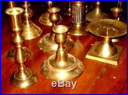 Vtg Lot (13) Brass Candlesticks Taper Candle Holders Mix Match Wedding Party Fun